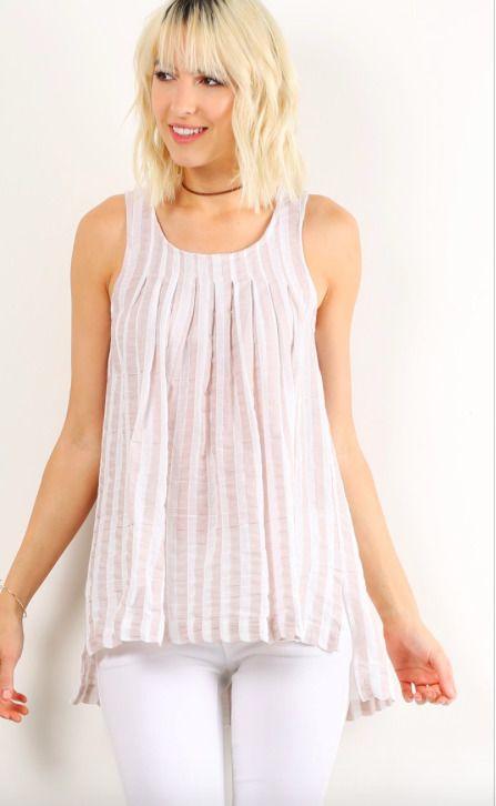 New Women's Tops Beige Ivory Stripe Sleeveless Cotton Summer #HemandThread #Top