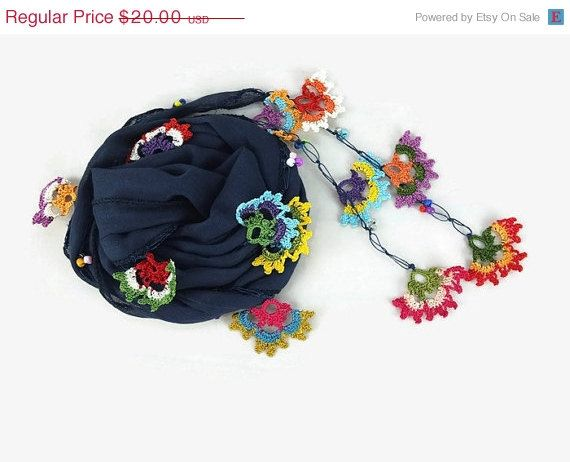 SUMMER SALE Navy Blue Scarflette   Womens foulard   by Nakkashe