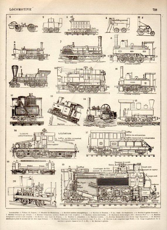 Steam Train Antique Print 1897 Lithograph Steam by Craftissimo, €12.00
