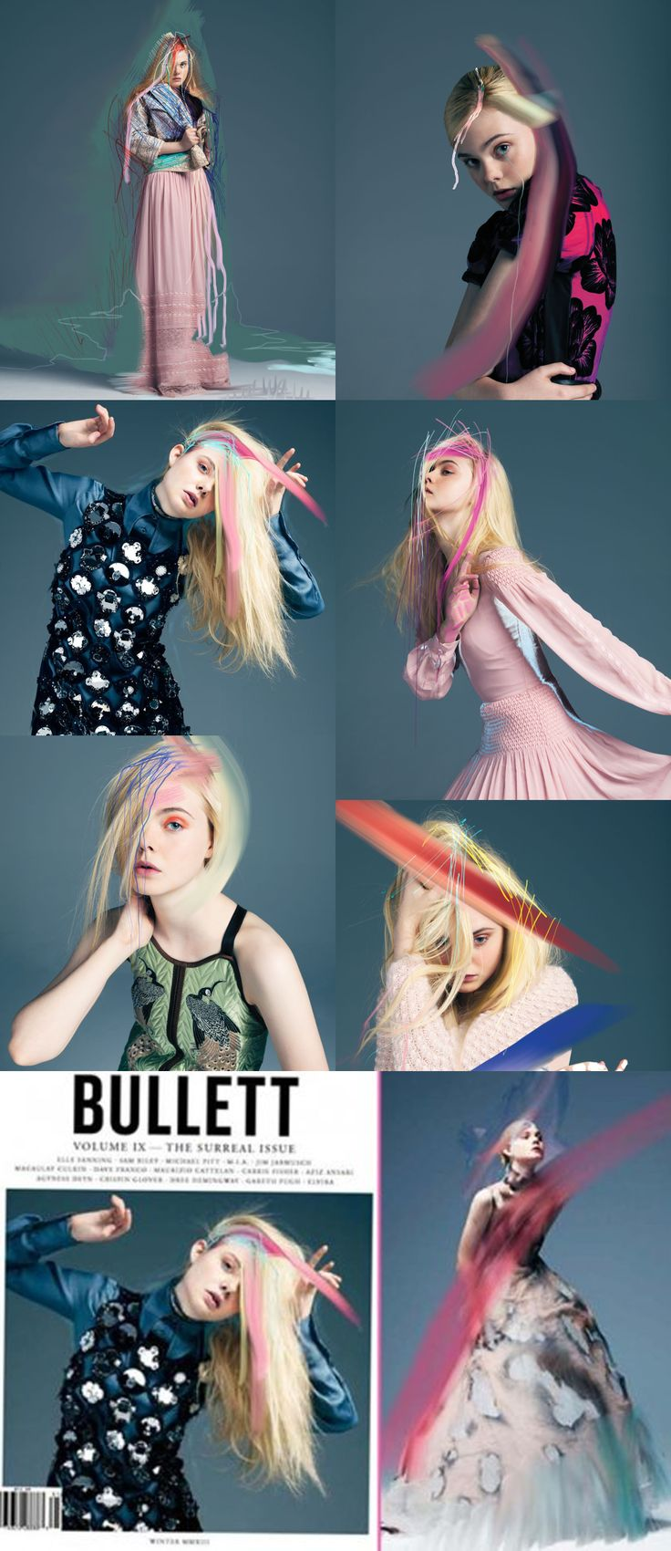 Gorgeous studio photos mixed with surreal brush strokes. Elle Fanning at Bullett Magazine's Winter 2012 Cover Shoot