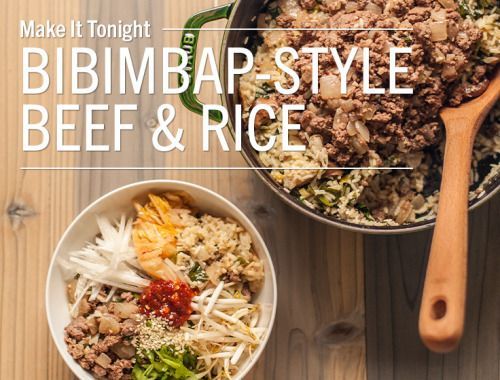 """One-Pot Bibimbap-Style Spinach Rice & Spicy BeefBibimbap, a traditional Korean dish, literally means """"mixed rice."""" It's typically served as a bowl of warm white rice topped with seasoned vegetables..."""