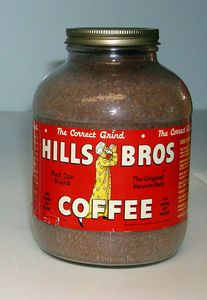 Hills Brothers Coffee Jar In 1900 Hills Brothers begins packing roast coffee in vacuum tins. This signaled the end for roasting shops and coffee mills. During World War II, the metal containers were replaced with glass. Americans began hoarding coffee and this led to coffee rationing. A citizen was limited to one pound every five weeks.
