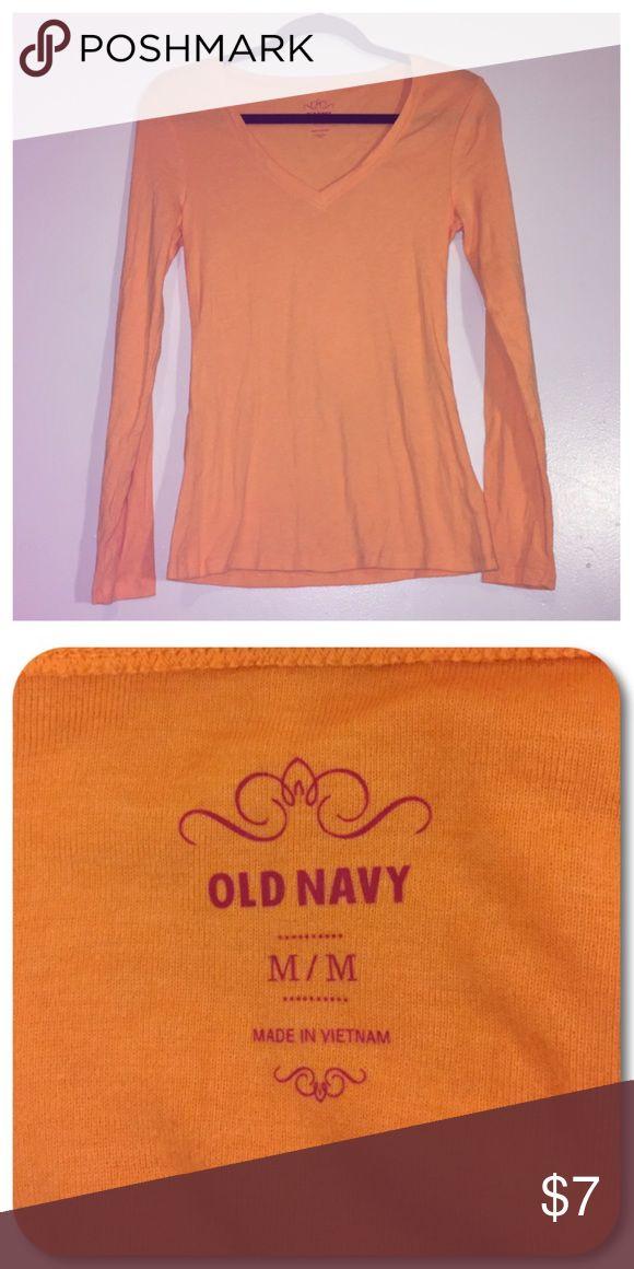 🍂V-Neck🍂 Old Navy orange long sleeve v-neck t-shirt. Women's medium. Old Navy Tops Tees - Long Sleeve