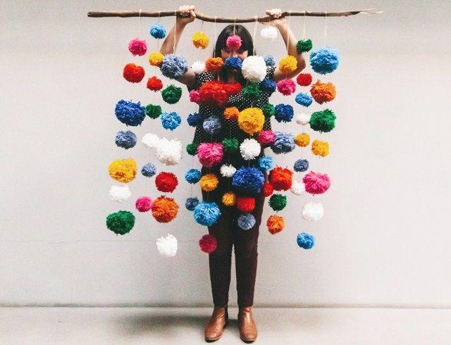 Marsha Golemac wool pom-pom hanging wall art. Myk-berlin pompom rug MYK-Berlin pompom chair. How to make a mini pom-pom with a fork. How to ...