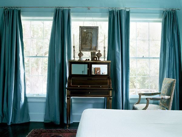 These colors look so beautiful together.  Google Image Result for http://curtainscolors.com/teal-blue-curtains-bedroom.jpg