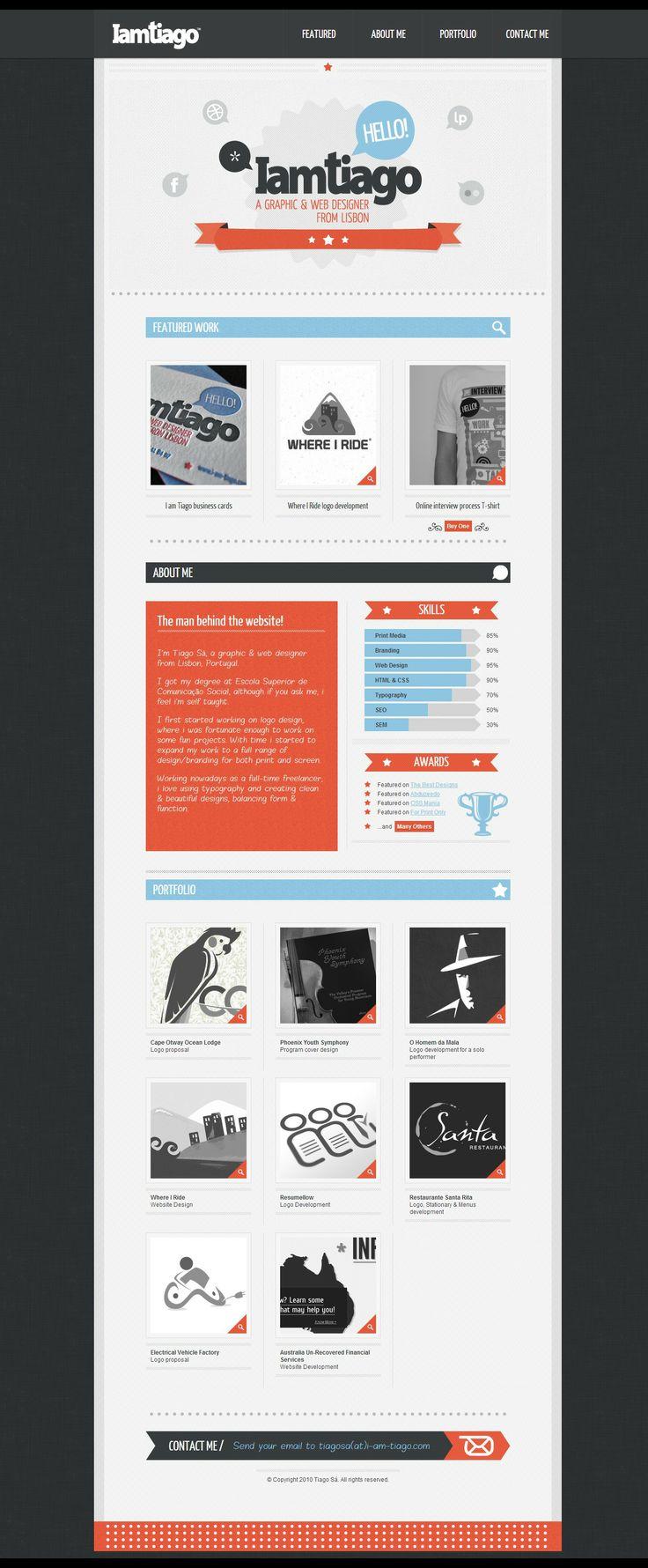 Portifólio simples e limpo  I am Tiago - Graphic & Web Designer http://www.i-am-tiago.com/