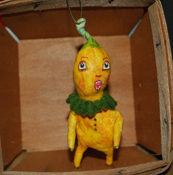 RESERVED Spun cotton anthropomorphic feather tree squash ornament OOAK ...