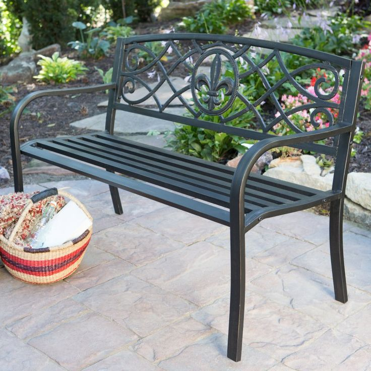 Outdoor Coral Coast Royal 4 ft. Curved Back Metal Garden Bench - SV135FH