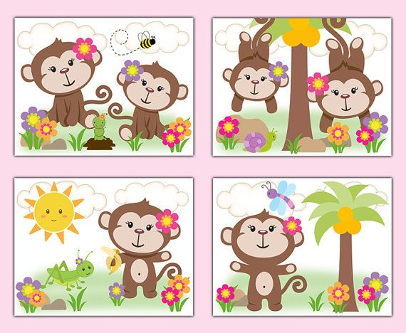 MONKEY NURSERY DECOR Prints Wall Art Baby Girl Pink Safari Animal Room Childrens Floral Bedroom Kids Jungle Bathroom Canvas Shower Gift #decampstudios