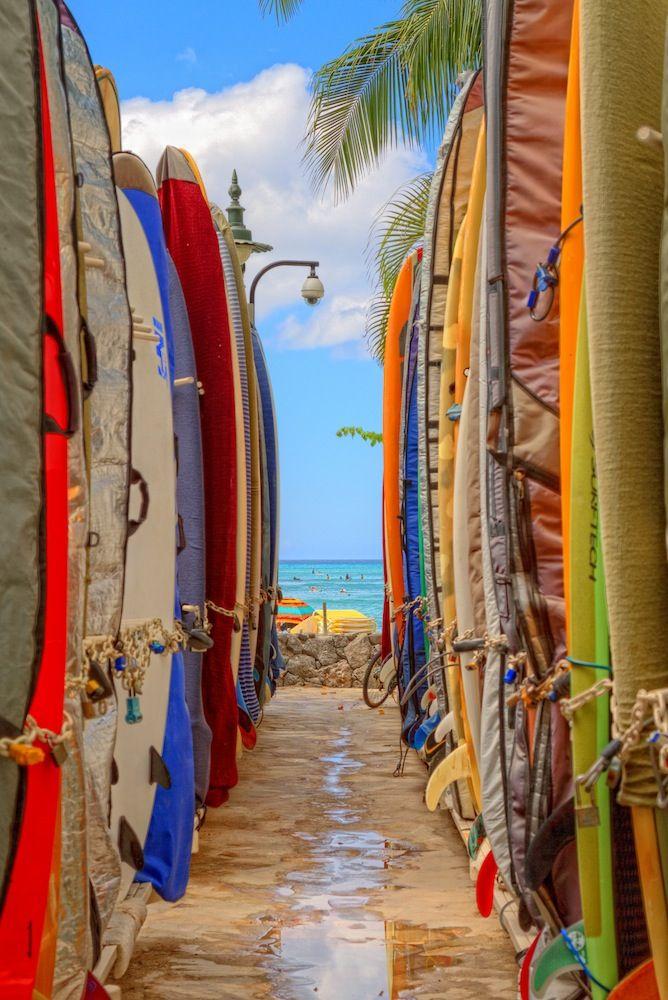 Surfboards at Waikiki Beach, Honolulu, Oahu, Hawaii