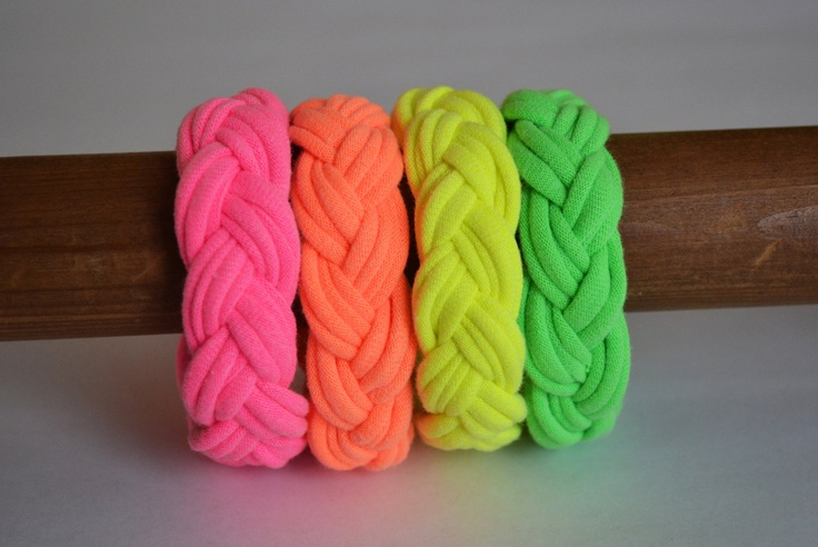 Use for Tshirt yarn.  Four neon nautical bracelets, turks head bracelets. $20.00, via Etsy.