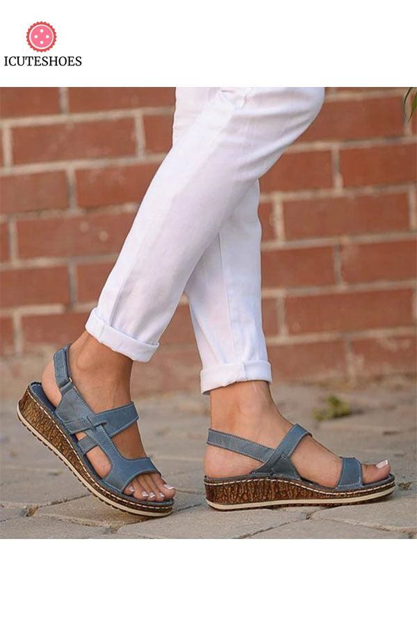 Ladies Peep Toe Hollow Out Summer Sandals Beach Shoes Women Open Toe Wedge Sandals