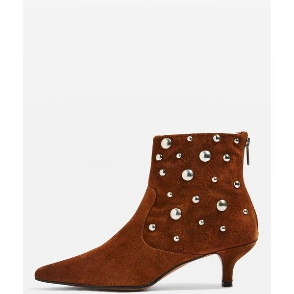 TopShop Ascot Studded Suede Boots ($135) ❤ liked on Polyvore featuring shoes, boots, tan, topshop boots, zip boots, zipper boots, pointy-toe boots and kitten heel boots