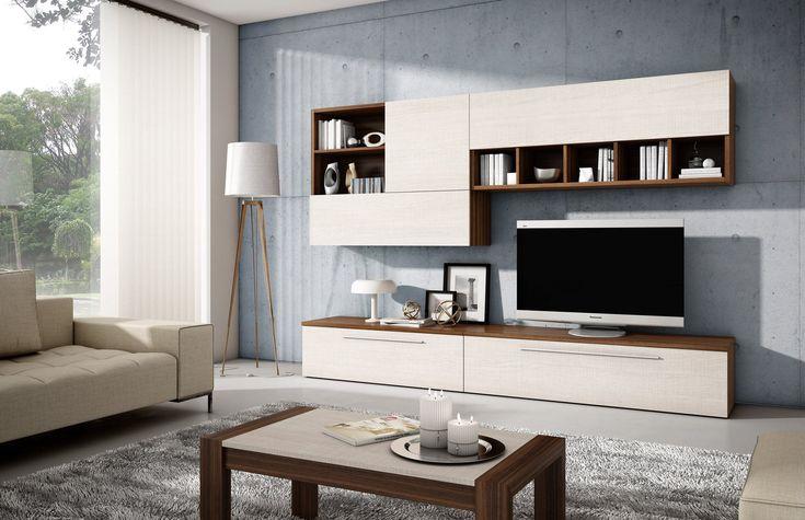 Moderno salón librería de 270 cm de ancho, fabricado en madera sintética de…