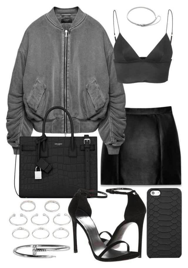 """""""Untitled #20497"""" by florencia95 ❤ liked on Polyvore featuring Yves Saint Laurent, T By Alexander Wang, Stuart Weitzman, Forever 21, GiGi New York and Eddie Borgo"""