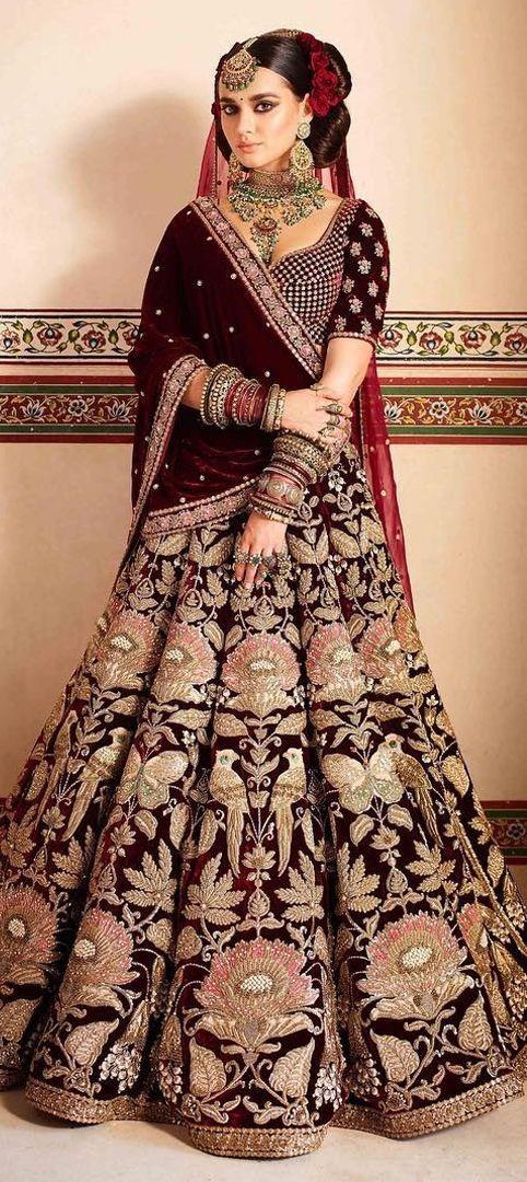 1526576: Wedding Red und Maroon Farbe Lehenga in Semi Velvet Stoff mit …   – kiran