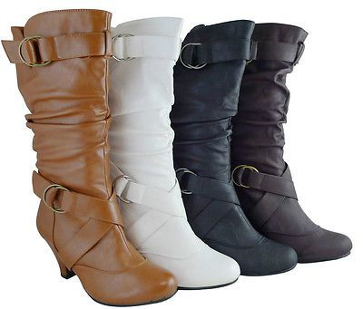 Women Boots Mid Calf Fashion Kitten High Heels Style Shoes Black Tan Brown White