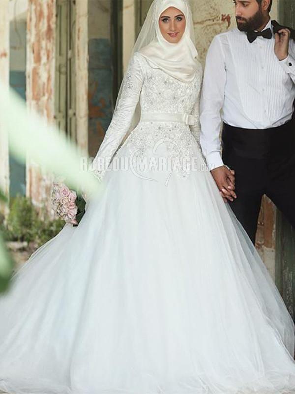 Robe de mariée musulmane jupe ample en dentelle et tulle avec ceniture [#ROBE2012532] - robedumariage.com