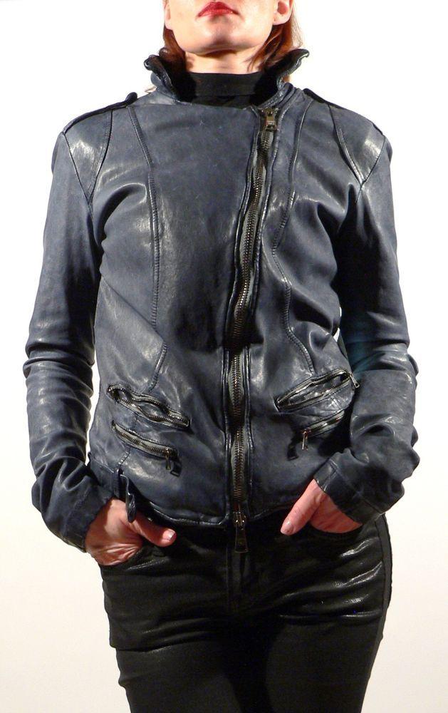 New GIORGIO BRATO Distressed Blue Vintage Leather Motorcycle Womens Jacket IT40  #GiorgioBrato #Motorcycle