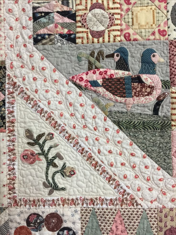 Some appliqued and hand pieced  blocks from the 1797 Sundial Quilt.