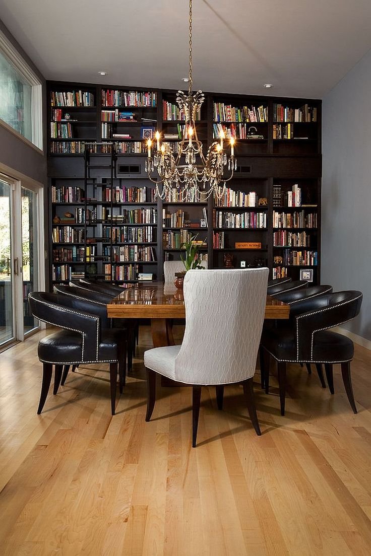Dining room and home library rolled into one with classic flair [Design: Tongue…