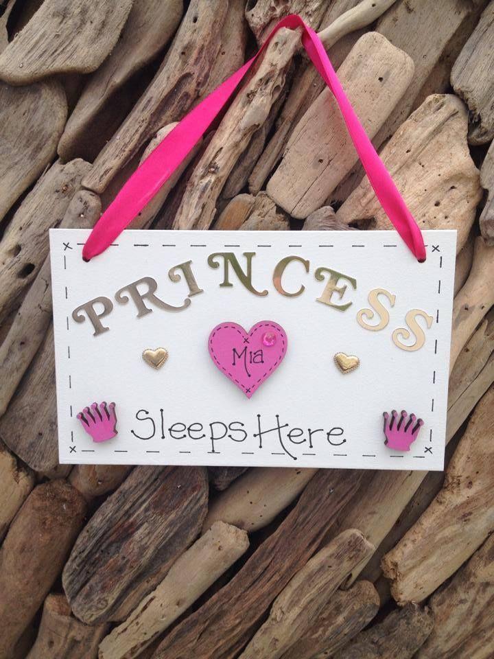 Childrens PRINCESS  Bedroom Door Name Personalised Plaque Ideal Present Gift