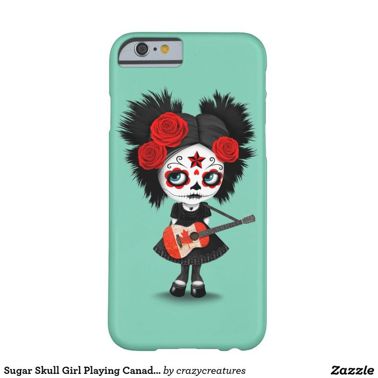 Sugar Skull Girl Playing Canadian Flag Guitar Barely There iPhone 6 Case