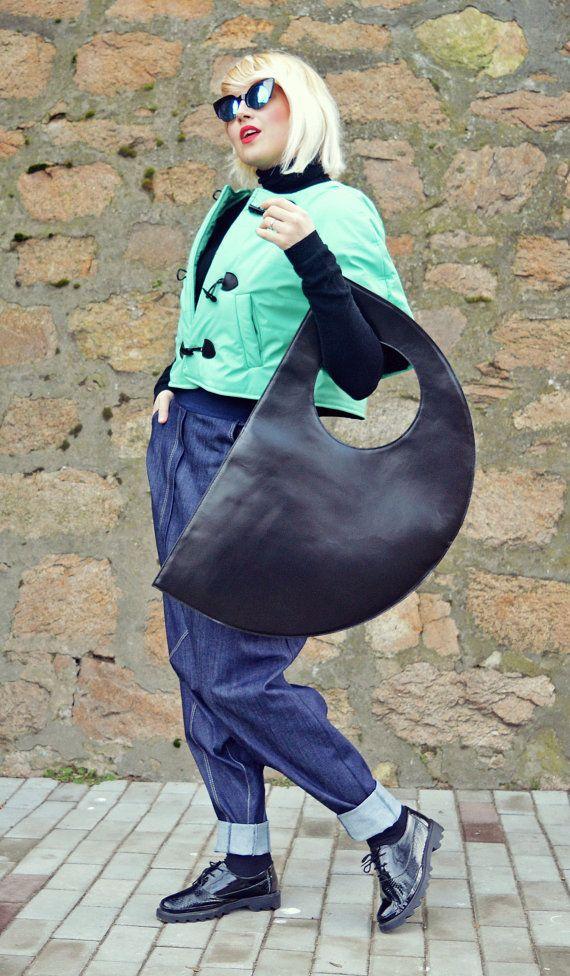 Genuine Leather Bag / Extravagant Black Leather Bag / by Teyxo
