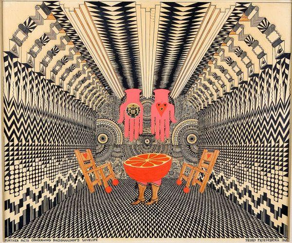 "⇢|| http://juxtapoz.com/current/surreal-work-by-pedro-friedeberg ⇢||""FurtherFactsConcerning Rachmaniof's Lovelife"" ⇢||PedroFriedeberg"