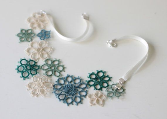perfect gift for her  handmade tatted floral necklace  by smaks, €35.00