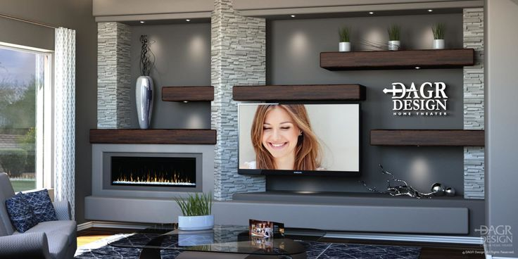 Custom media wall with floating wood shelves, stacked ...
