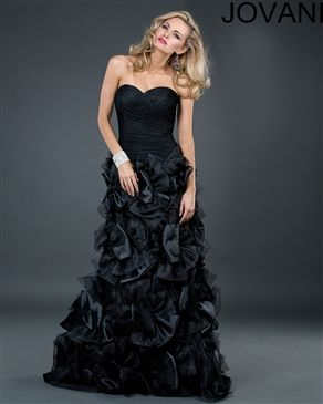 Jovani 2041 Colors: Black $550.00 Unique black strapless gown, this gown will make everyone notice you, it is defiantly a dress to remember. www.srdlooks.com