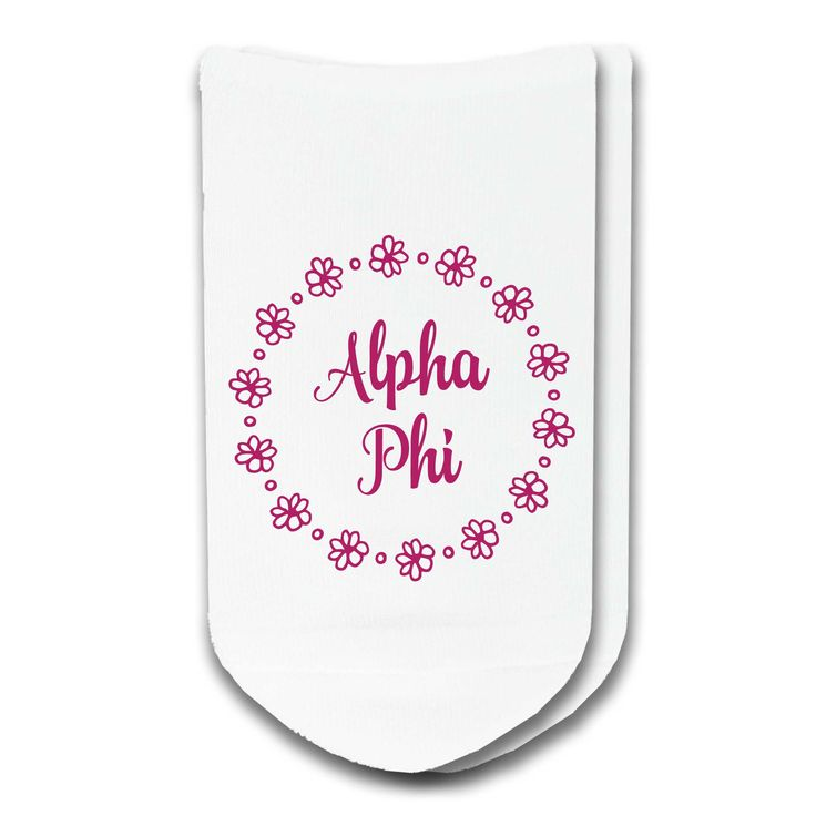 Alpha Phi - Sorority Name in Floral Circle No-Show Socks