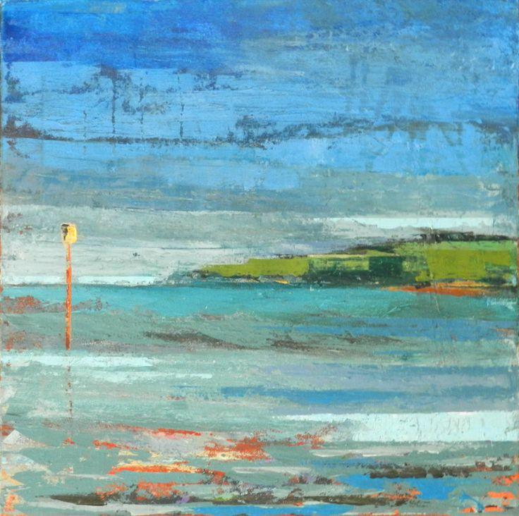 """""""La balise jaune"""" Edith O'Neill Peinture à l'huile au couteau"""