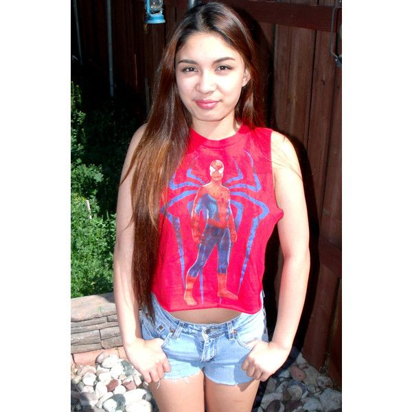 Spring Summer Spiderman Comic Movie Marvel Reworked T Shirt Tee Tank... (€8,81) ❤ liked on Polyvore featuring tops, grey, tanks, women's clothing, summer crop tops, summer tanks, grey tank top, grey crop top and gray top