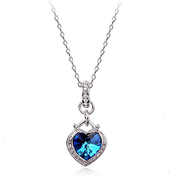 Быстрая распродажа в форме сердца океана циркон ожерелье держатель при покрынная платина для женщин