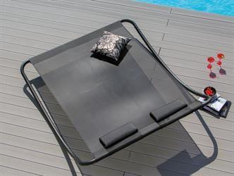Lit rocking double coloris gris 200x48x180 cm -lit de soleil/piscine-Lit de soleil, RELAX, chaises longues, flaneuses,...-Mobilier de jardin: Demonceau S.A.
