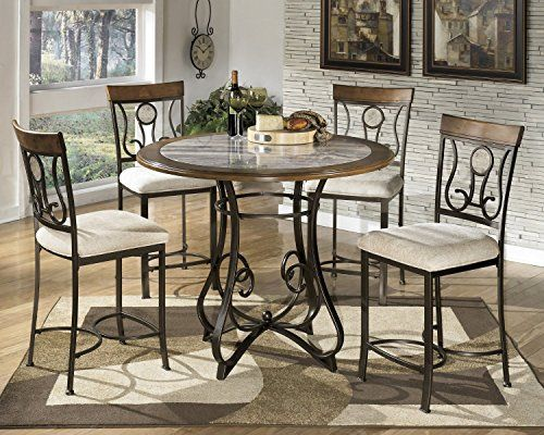 GTU Furniture 5pc Hops Metal Round Marble Table Chairs Dining Room Kitchen  Set Counter Height *