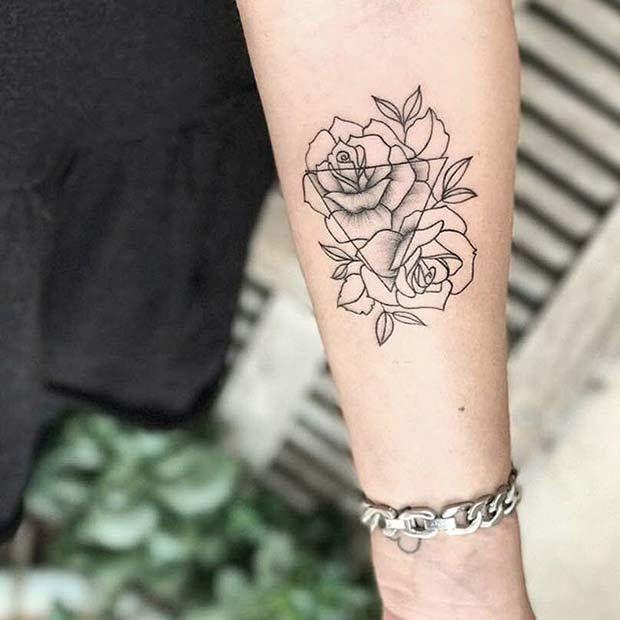 10 Beautiful Rose Tattoo Ideas for Women: #6. TRIANGLE ROSE DESIGN
