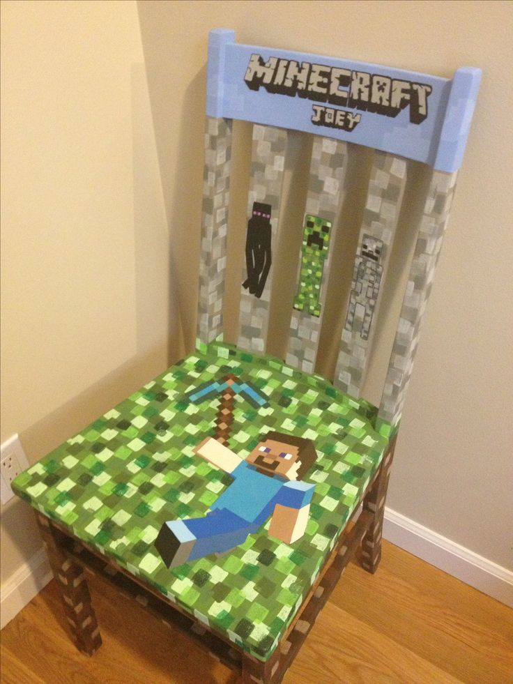 Custom Minecraft kids painted chair. Includes Stevie with pic axe, skeleton, creeper and Enderman.