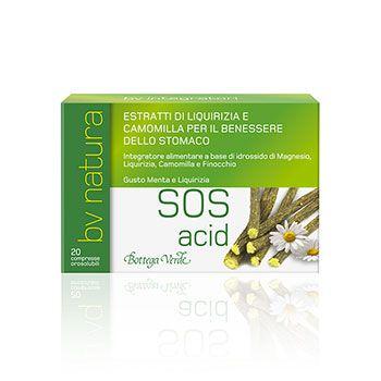 Bv Natura - SOS Acid - Integratore alimentare a base di idrossido di Magnesio, Liquirizia, Camomilla e Finocchio (20 compresse orosolubili)