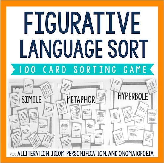 Use this fun and interactive sorting game to review and reinforce figurative language. These 100 cards each have examples of figurative language taken from real YA literature. Students will sort them into seven categories: metaphors, similes, personification, hyperboles, idioms, onomatopoeia, alliteration.   You will want to use this student-centered activity for years to come!