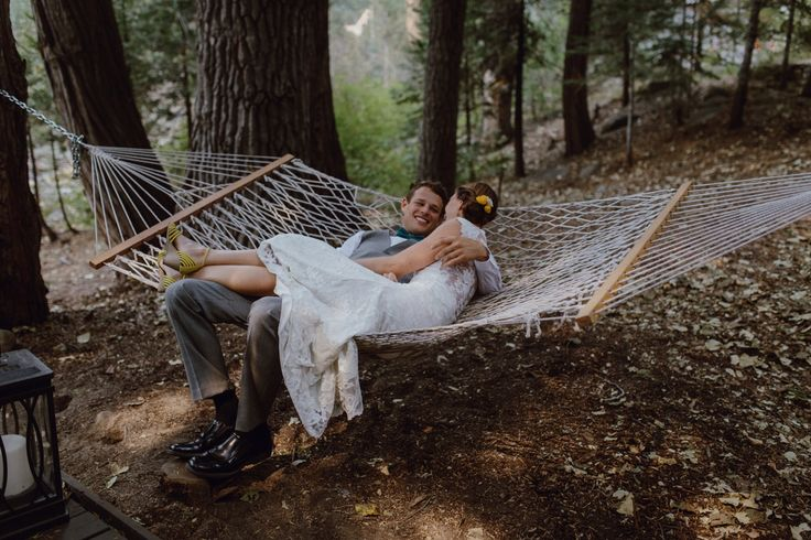 Couple in hammock by Megan Saul Photography  Lake Tahoe Wedding  Strawberry Lodge Wedding  #laketahoewedding #strawberrylodgewedding