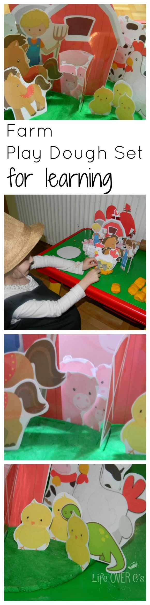 Interactive Farm Scenery for Play Dough with QR code conversation task cards PLUS bonus FREE Puzzles $