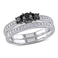 0.49 CT. T.W. Enhanced Black and White Diamond Three Stone Bridal Set in Sterling Silver  - Peoples Jewellers