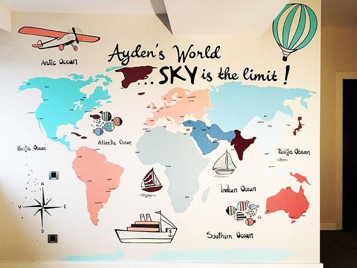 Ayden's World | Wall Mural World Map Pictura Murala Harta Lumii