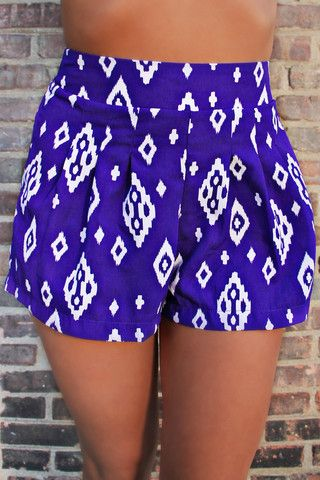 """I am so glad the """"High Waist"""" has returned to the fashion world. It was so exhausting trying to ignore the fact that I had a uterus and squeeze into low rise jeans. Tribal High Waisted Shorts"""