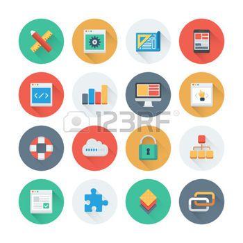 picto programme: Perfect Pixel icônes plates fixées avec effet du développement web et de programmation site Web, codage de pages Web et interface utilisateur qui crée longue ombre. Appartement style design collection de pictogramme moderne. Isolé sur fond blanc.
