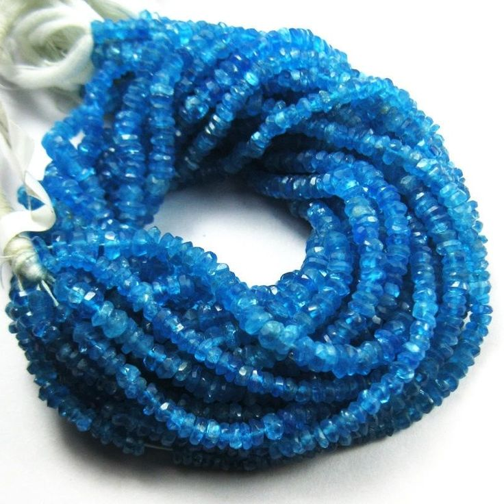 Natural Blue Apatite Faceted Rondelle Gemstone Loose Bead Strand 13 Inch 3mm 5mm