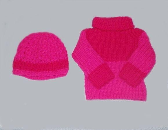 Blusa tricô à mão +gorro p  bebê 3 meses no Elo7   Roupas de bebê  tricrochê. (978798) b35773b94d
